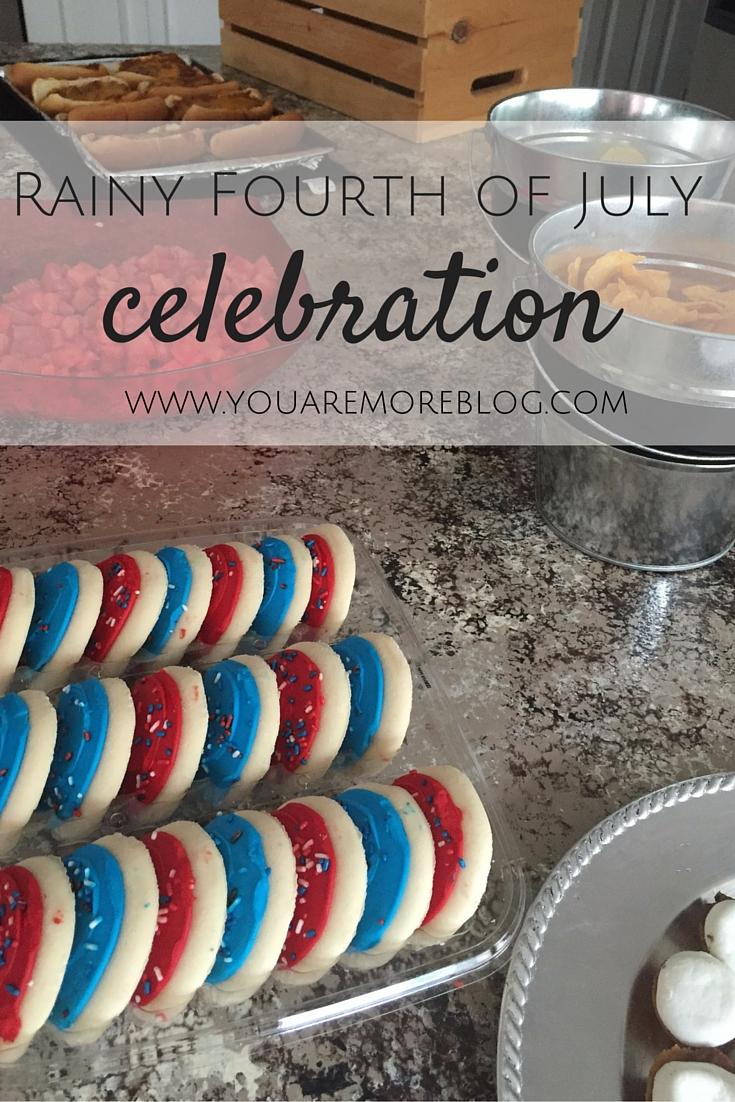 Rainy fourth of July indoor celebration.