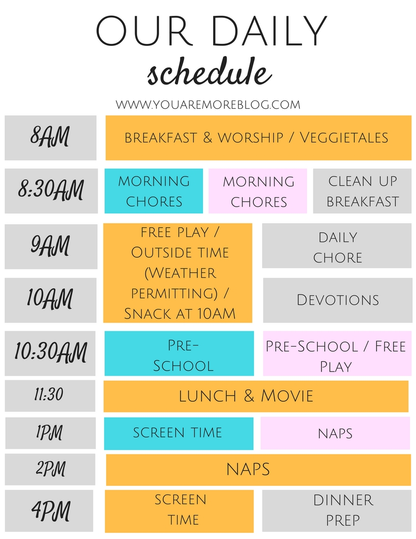 A manageable Daily Schedule with toddlers.
