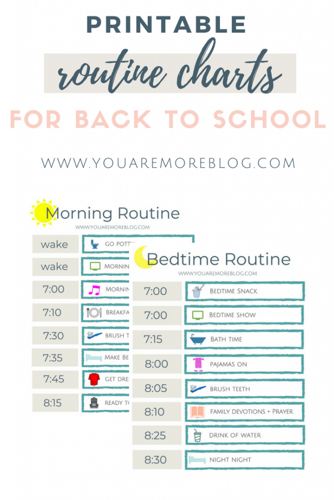 graphic about Children's Routine Charts Free Printable identified as Back again toward College Agenda Cost-free Printable - On your own Are Additional Site